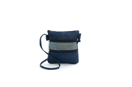 Liores Cork Crossbody Bag (Dark Blue/Light Blue) - Veenofs