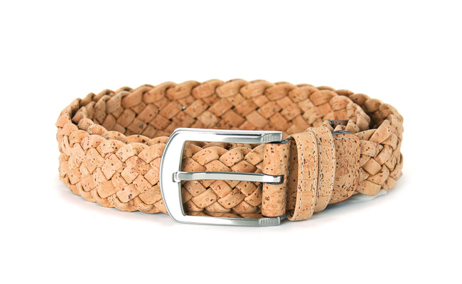 Vegan Liores Cork Unisex Braided Belt (40mm) - Beige - Veenofs