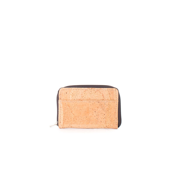 Vegan Liores Cork Mini Wallet With Zip - Beige - Veenofs
