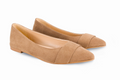 Vegan Fera Libens Maia Pointed Toe Ballerina Shoes - Beige - Veenofs