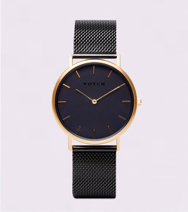 Votch Gold & Black With Black Strap | Mesh Classic