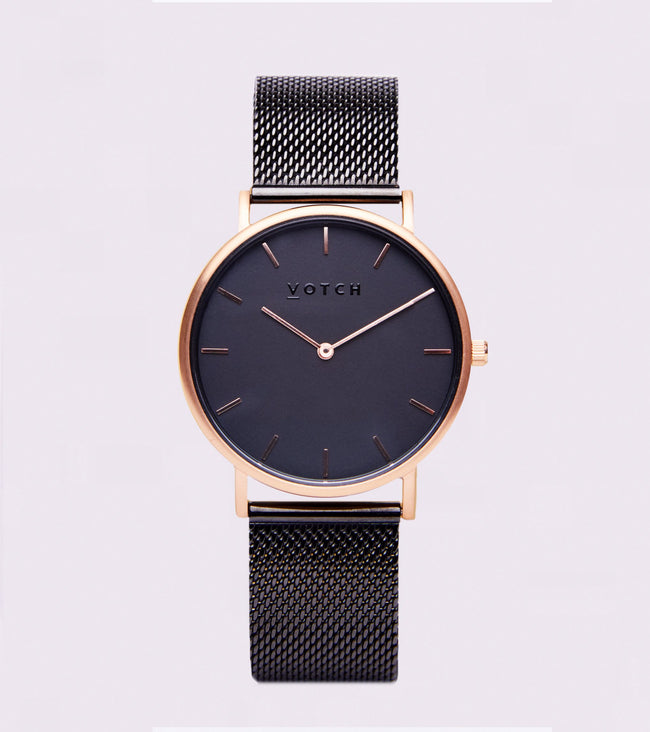 Votch Rose Gold & Black With Black Strap | Mesh Classic