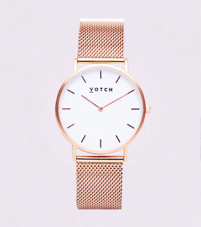 Votch Rose Gold & White With Rose Gold Strap | Mesh Classic