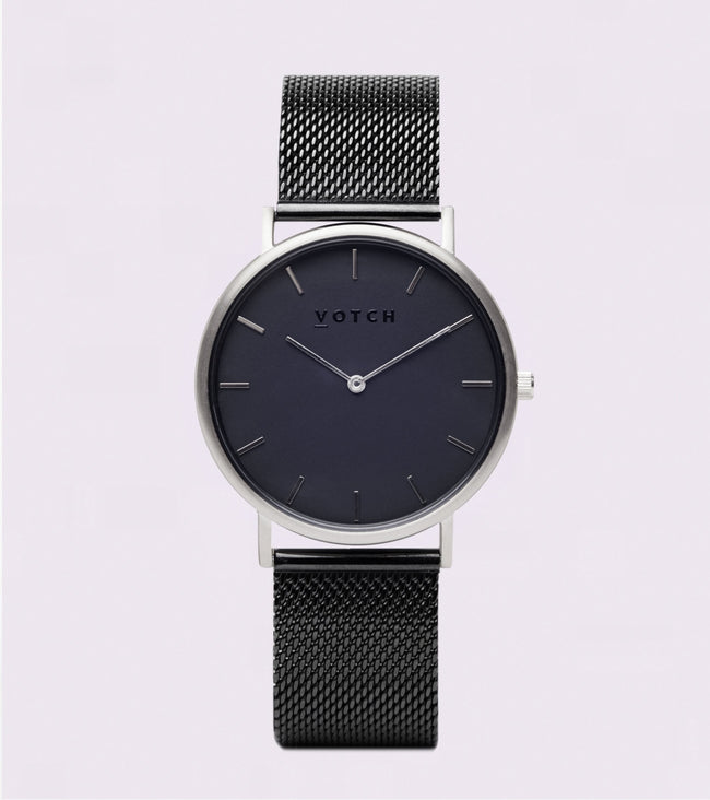 Votch Silver & Black With Black Strap | Mesh Classic