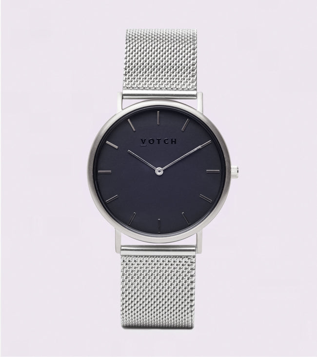 Votch Silver & Black With Silver Strap | Mesh Classic