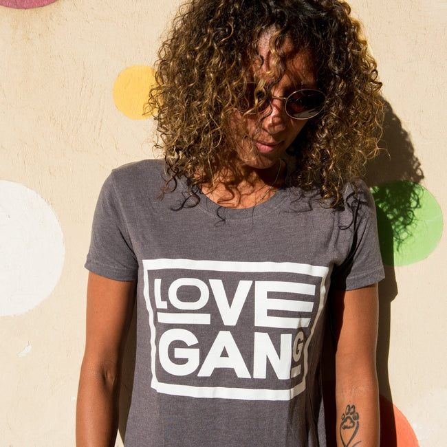 Love Gang Fitted Love Gang T-Shirt - Grey