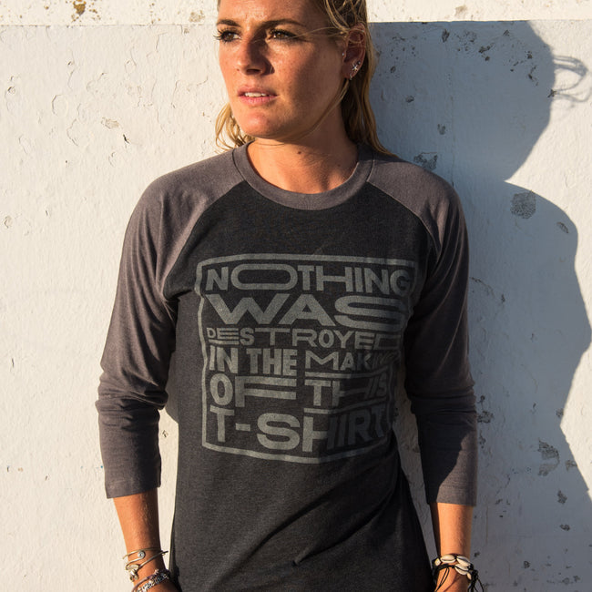 Recycled clothing, recycled polyester, ethical clothing, sustainable clothing, vegan clothing, save the planet, hoodie, vegan tshirt, vegan slogan tee, vegan tee, vegan baseball tee, baseball tshirt, baseball tee, nothing was destroyed in the making of this t shirt, nothing was destroyed
