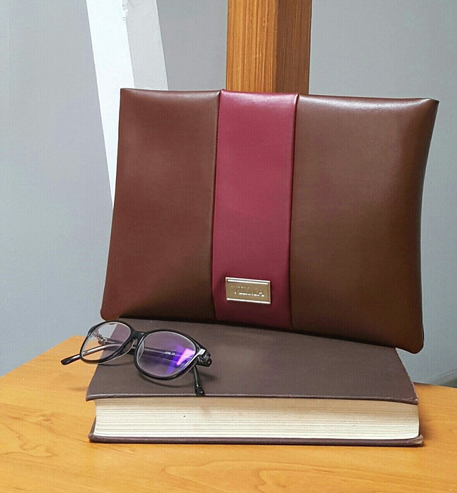 Vilma Vegan Clutch - Brown/Burgundy - Veenofs
