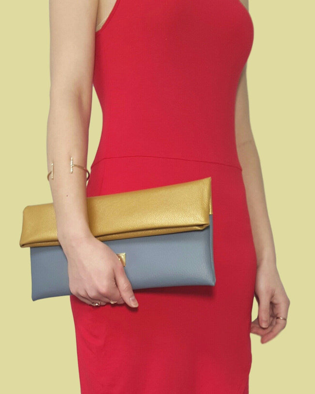 Vilma Fold-Over Vegan Clutch - Grey/Gold - Veenofs