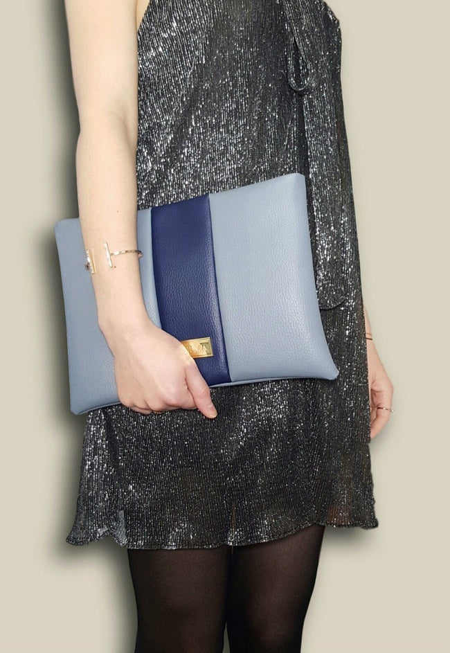 Vilma Vegan Clutch - Grey/Royal Blue - Veenofs