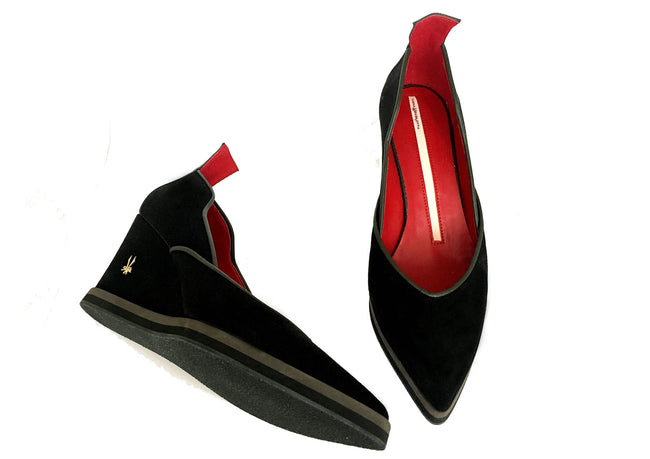 Black Wedge classic vegan shoes made in Italy by Ivana Basilotta for No Ones Skin