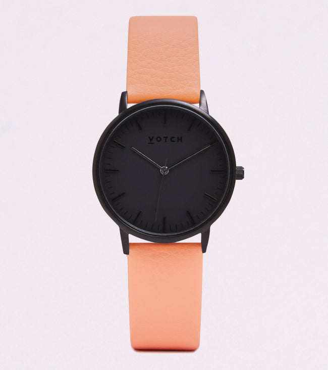 Votch All Black Face With Coral Strap