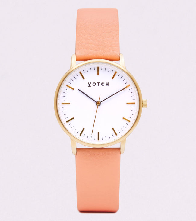 Votch Gold Face With Coral Strap