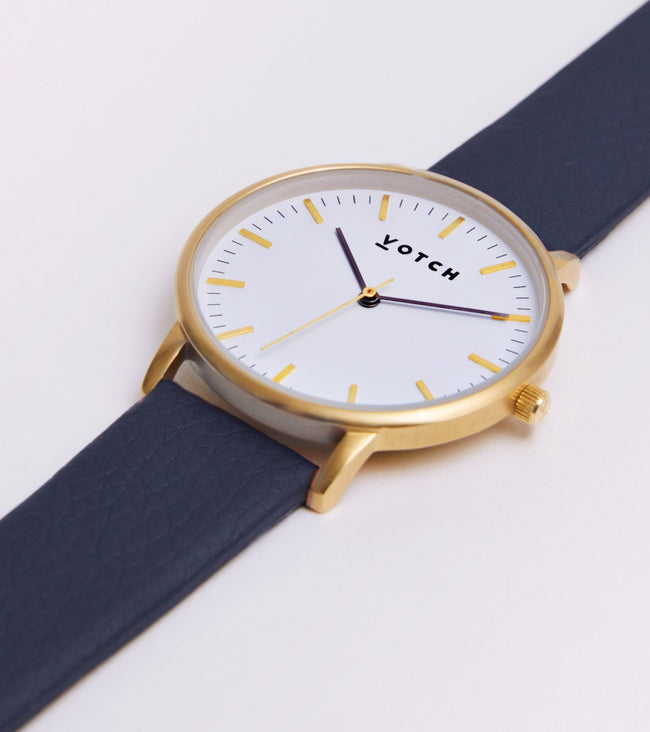 Votch Gold Face With Navy Strap