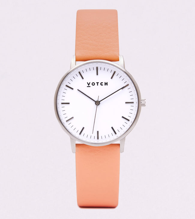 Votch Silver Face With Coral Strap