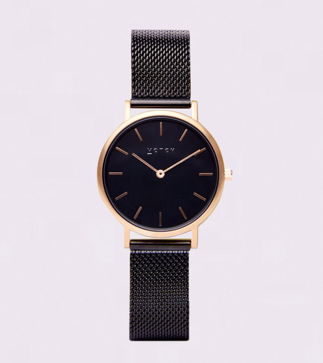 Votch Gold & Black With Black Strap | Mesh Petite