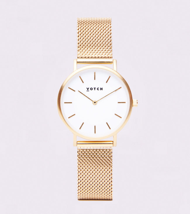 Votch Gold & White With Gold Strap | Mesh Petite