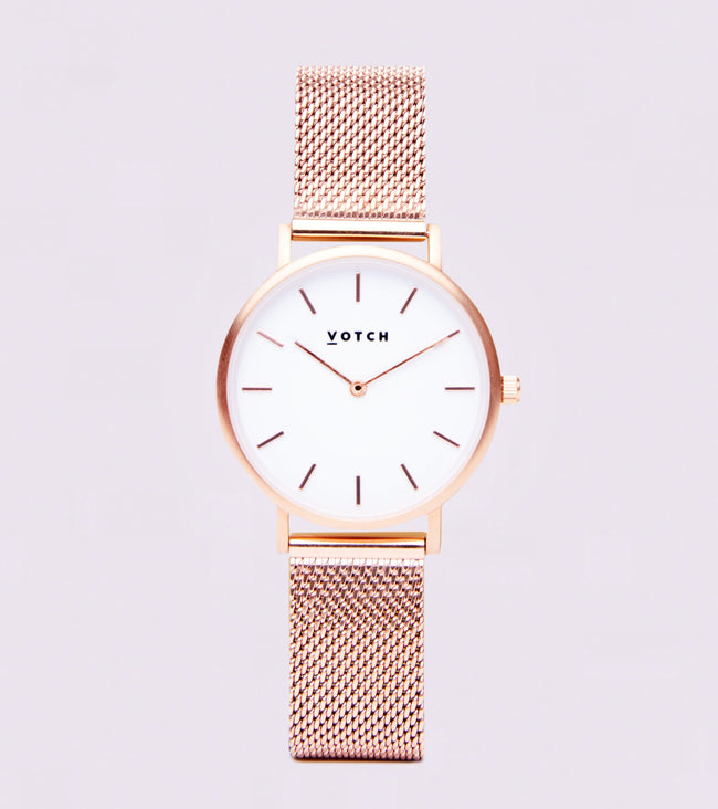 Votch Rose Gold & White With Rose Gold Strap | Mesh Petite