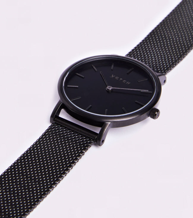 Votch All Black With Black Strap | Mesh Petite