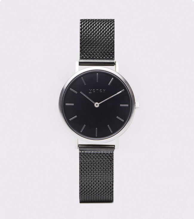 Votch Silver & Black With Black Strap | Mesh Petite