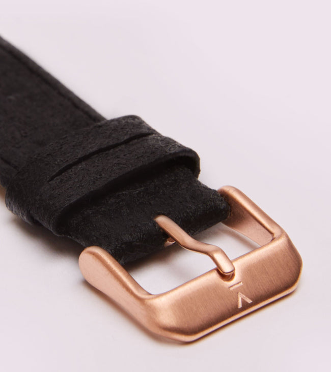 Votch Piñatex Black With Brushed Rose Gold Buckle | 20mm