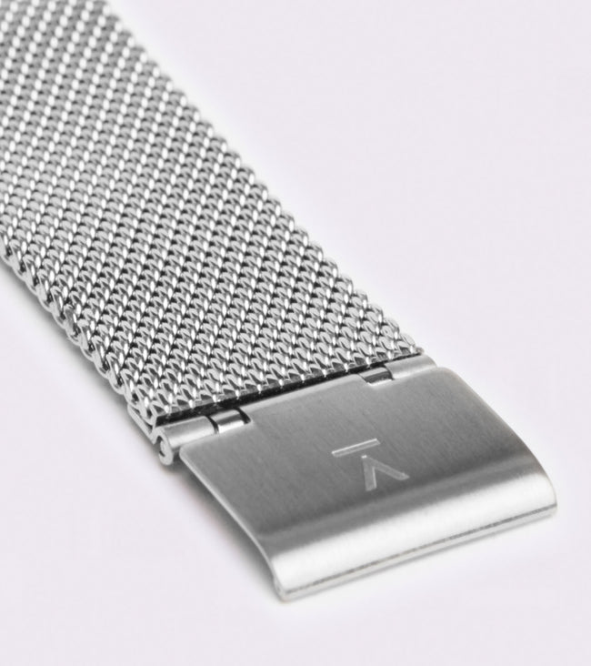 Votch Silver & White With Silver Strap | Mesh Petite