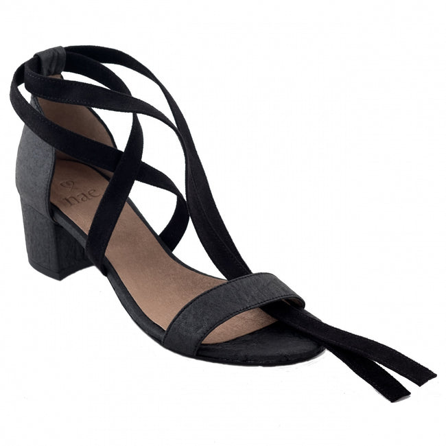 Nae Clau Heeled Ankle Strap Sandals - Black - Veenofs