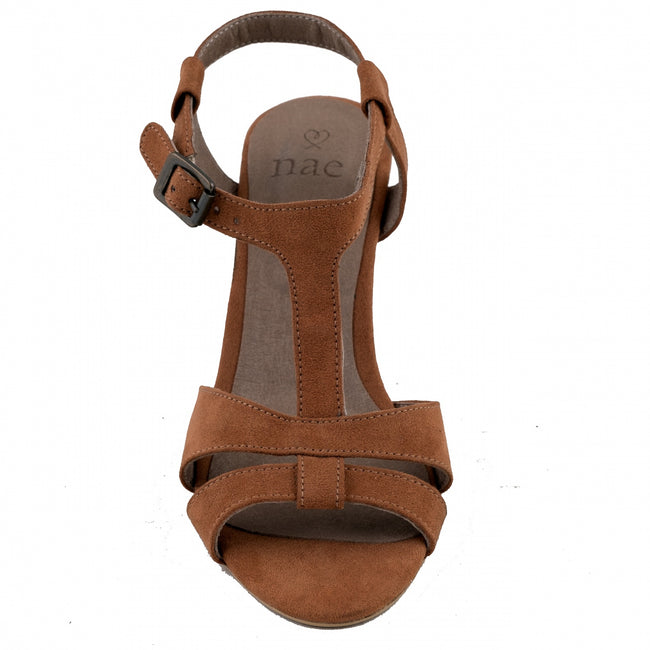 Nae Bona Ankle Strap Heeled Sandals - Brown - Veenofs