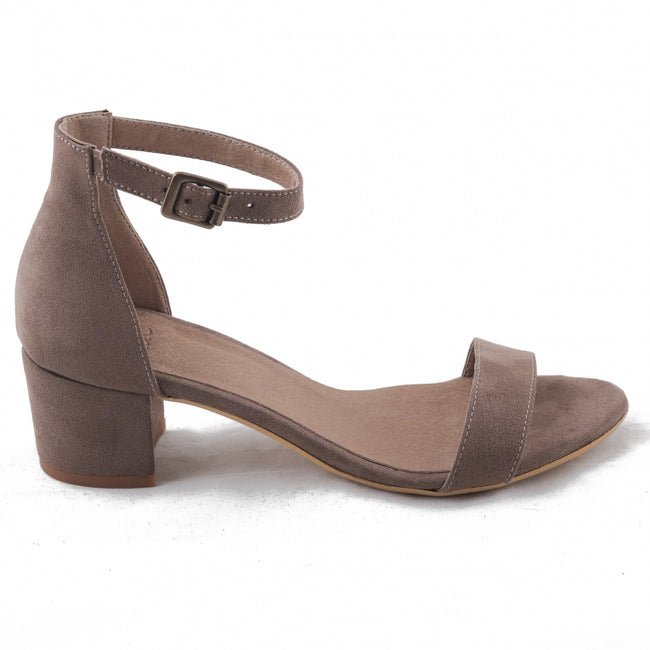 Nae Irene Heeled Ankle Strap Sandals - Brown - Veenofs