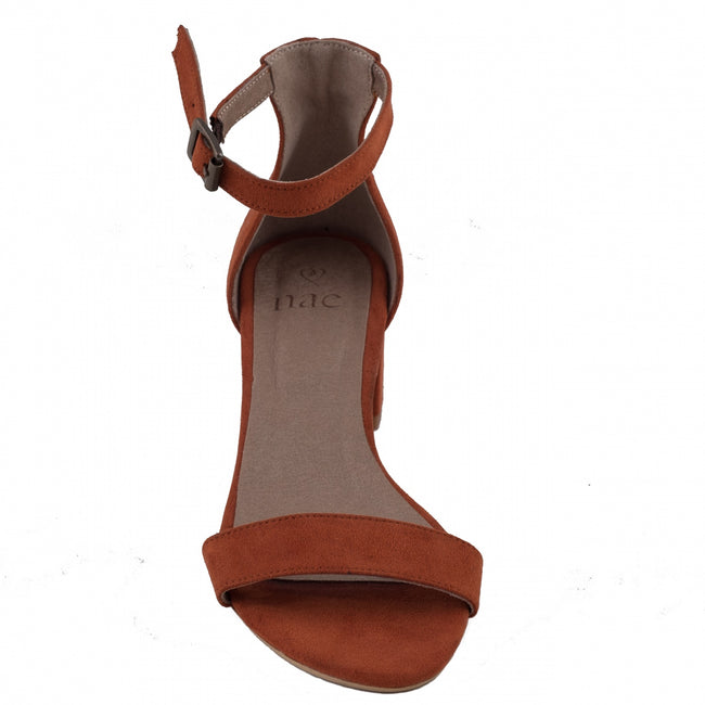 Nae Irene Heeled Ankle Strap Sandals - Orange - Veenofs