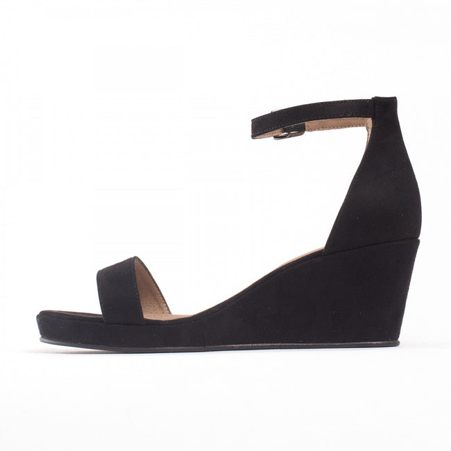Nae Linda Ankle Strap Wedge Vegan Sandals - Black - Veenofs