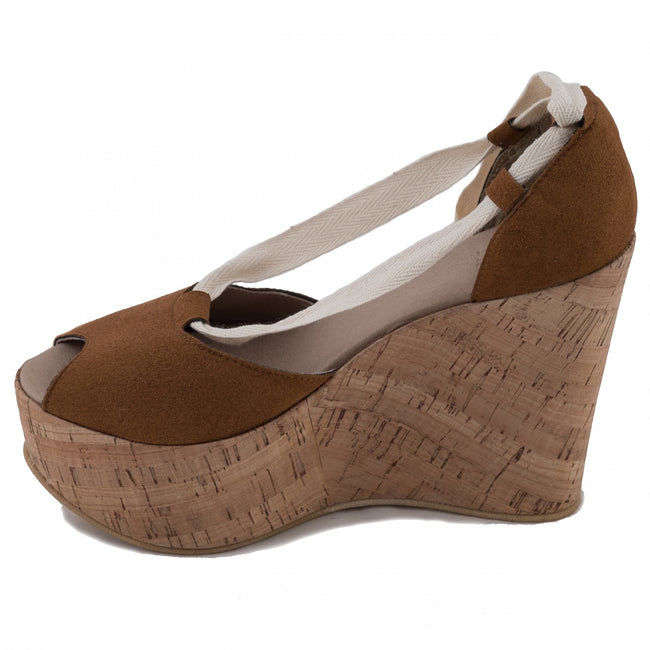 Nae Mireia Wedge Vegan Sandals - Brown - Veenofs
