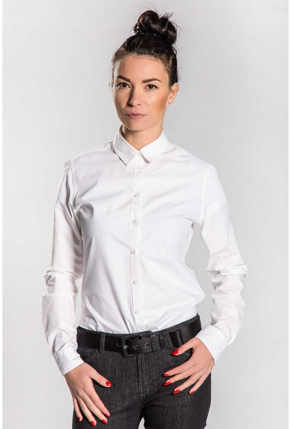 Slogan Alder Organic Cotton Shirt - White - Veenofs