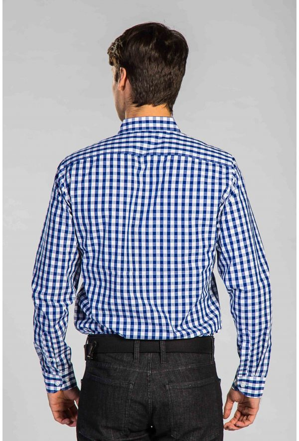 Slogan Alder Check Shirt - Blue - Veenofs