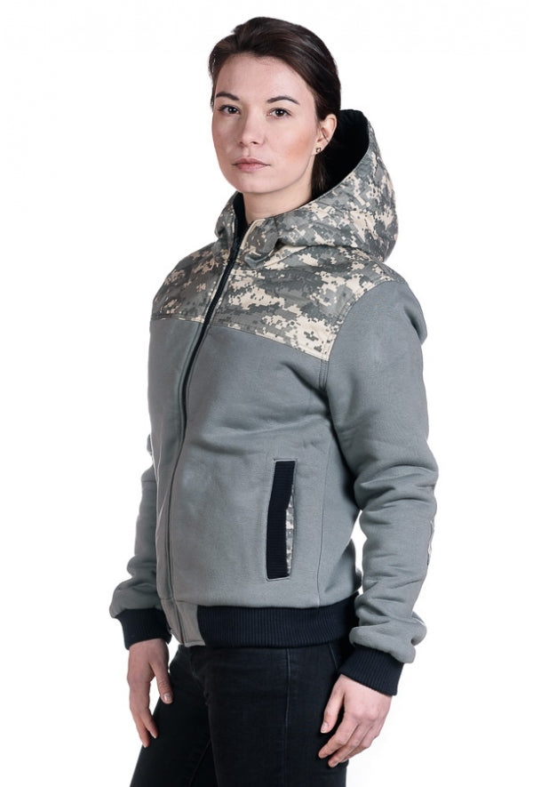 Slogan Women's Reversible Organic Cotton Jacket - Camouflage/Black - Veenofs