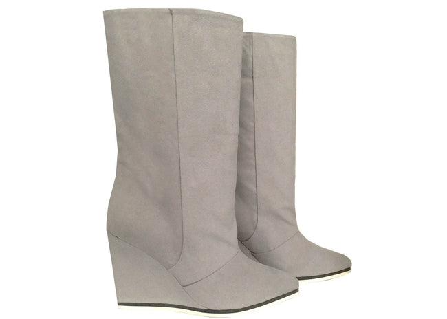 NO ONE'S SKIN Antoinette Pale Grey Wedge Boots
