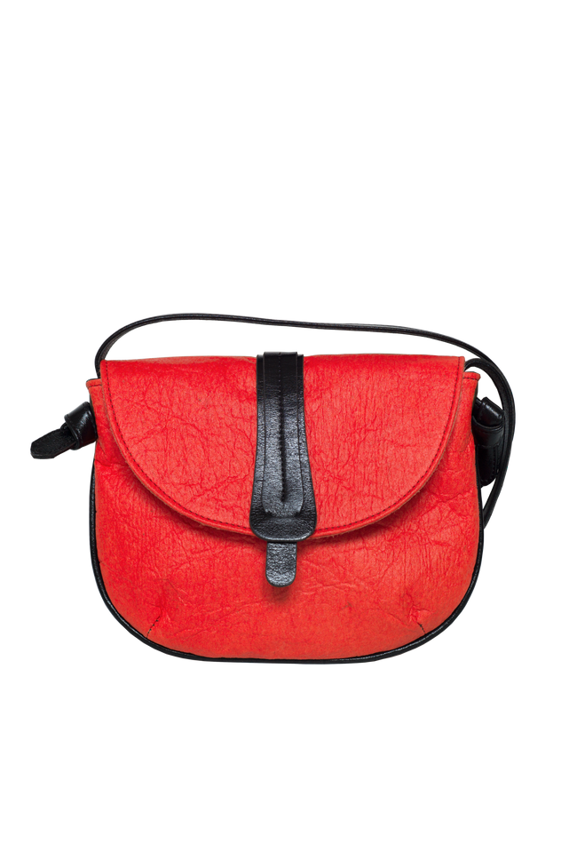 Vegan Camille Piñatex Shoulder Bag - Orange - Veenofs