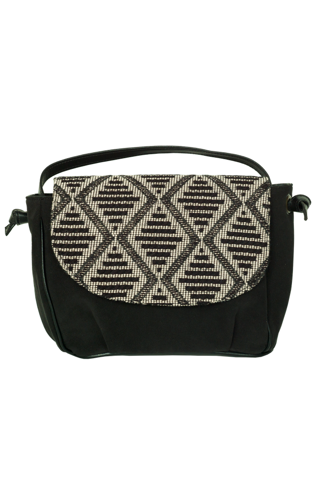 Vegan Camille Jacquard Shoulder Bag - Grey/Black - Veenofs