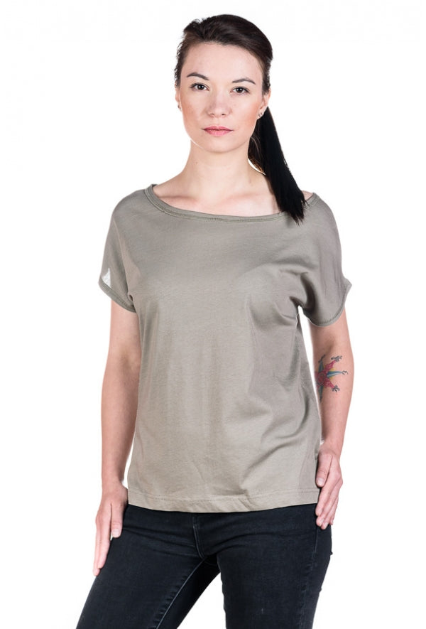 Slogan Faded Top - Taupe - Veenofs