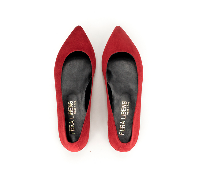 Vegan Fera Libens Maia Pointed Toe Ballerina Shoes - Red - Veenofs