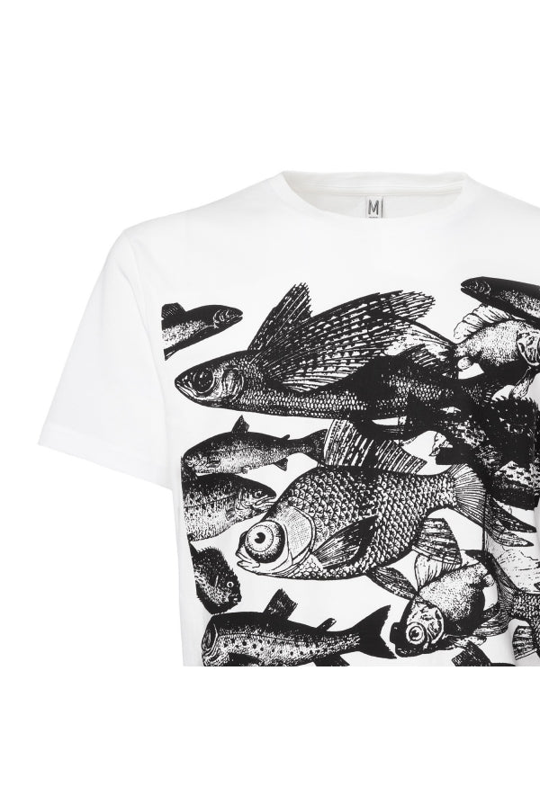 Slogan Fish T-Shirt - White - Veenofs