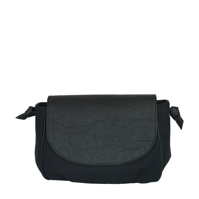 Vegan Camille Flores Piñatex Shoulder Bag - Black - Veenofs