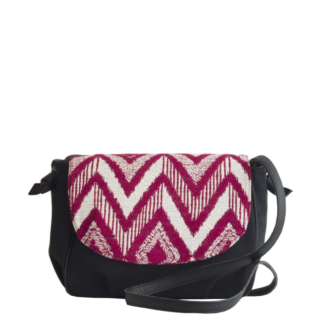 Vegan Camille Flores Jacquard Shoulder Bag - Black/Red - Veenofs