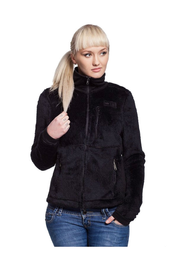 Slogan Women's Teddy Bear Recycled Polyester Jacket - Black - Veenofs