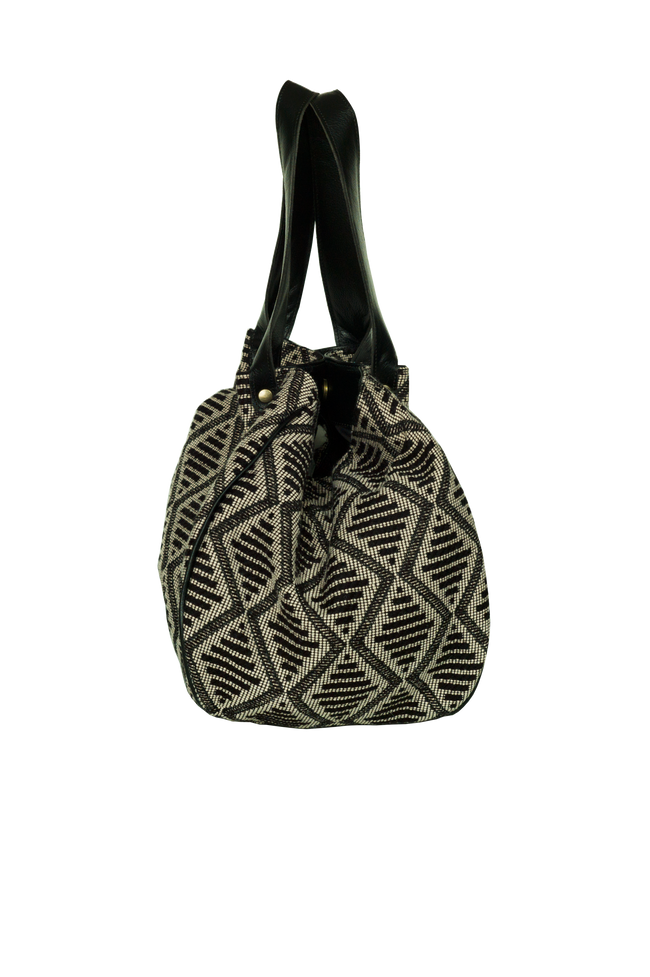 Vegan Camille Jacquard Hobo Bag - Grey - Veenofs