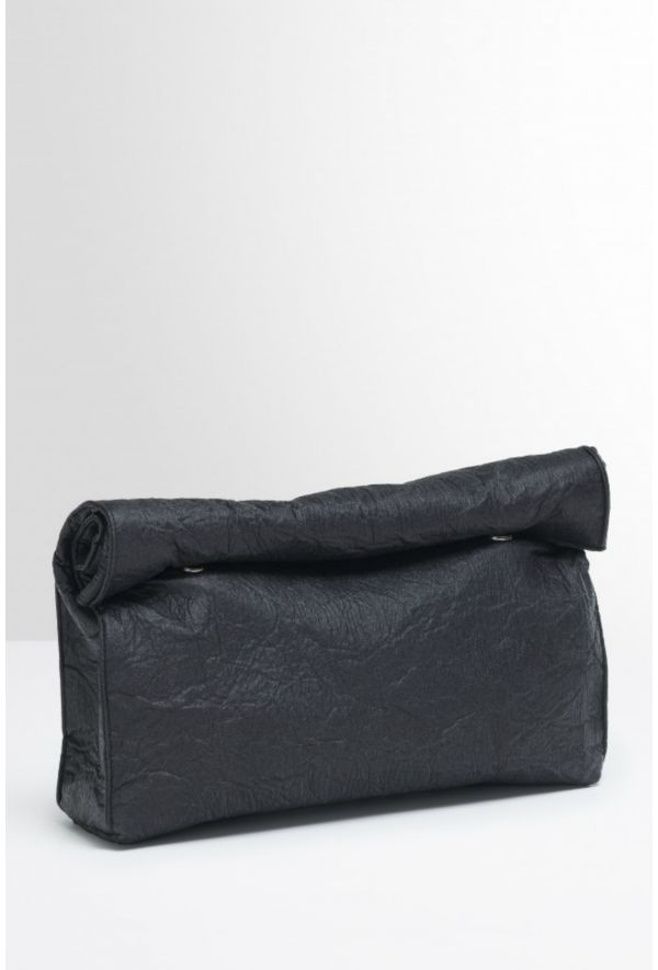 Slogan Pinatex Lunch Bag Style Clutch Bag - Charcoal - Veenofs