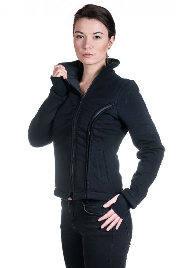 Slogan Women's MOTION Organic Cotton Jacket - Black - Veenofs