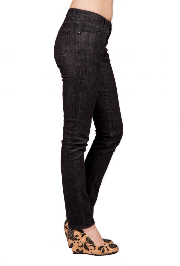 Slogan Women's Organic Cotton Jeans - Black - Veenofs