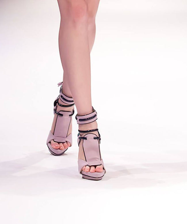 NO ONE'S SKIN Paris Pale Lavender Vegan Ankle Sandals