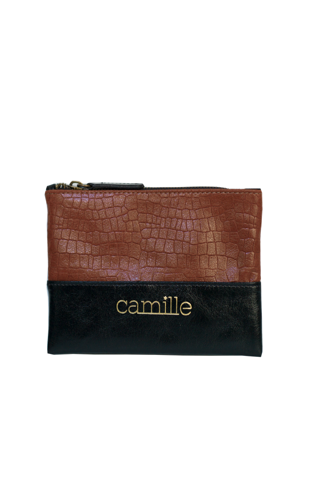 Vegan Camille Croco Pouch - Brown - Veenofs